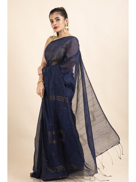 Blue Sequin Box Cotton Silk Handloom Saree with Blouse piece-3