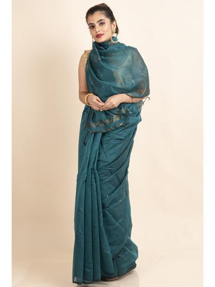 Deep Aqua Blue Sequin Box Cotton Silk Handloom Saree with Blouse piece-LAACSHS014