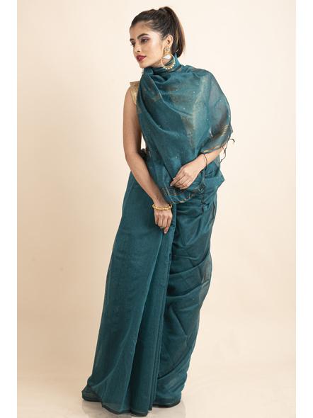 Deep Aqua Blue Sequin Box Cotton Silk Handloom Saree with Blouse piece-4