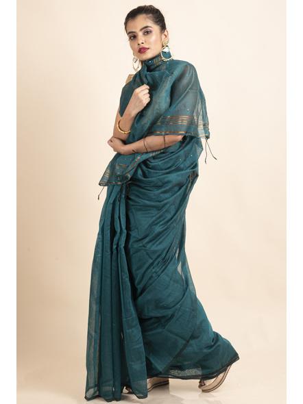 Deep Aqua Blue Sequin Box Cotton Silk Handloom Saree with Blouse piece-3