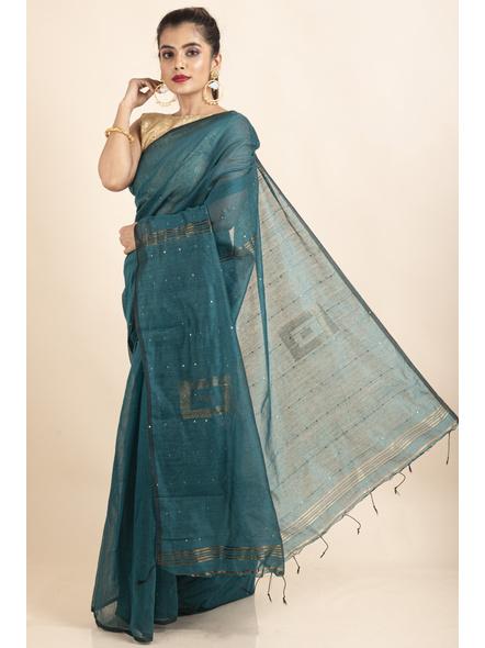 Deep Aqua Blue Sequin Box Cotton Silk Handloom Saree with Blouse piece-2