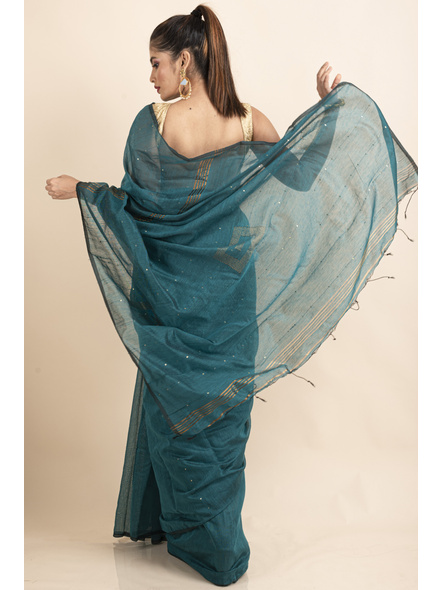 Deep Aqua Blue Sequin Box Cotton Silk Handloom Saree with Blouse piece-1