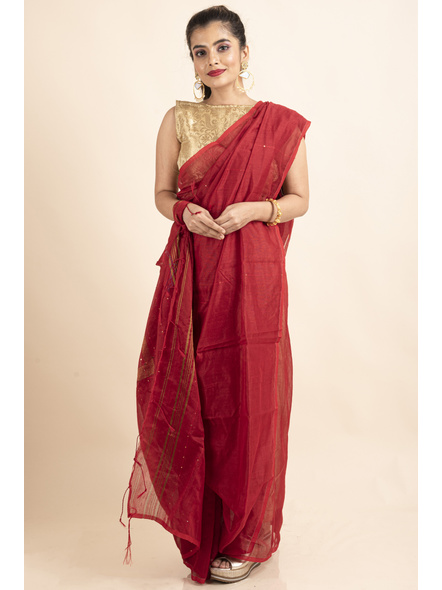 Red Sequin Box Cotton Silk Handloom Saree with Blouse piece-LAACSHS015