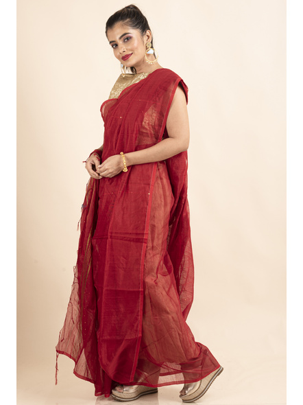 Red Sequin Box Cotton Silk Handloom Saree with Blouse piece-4
