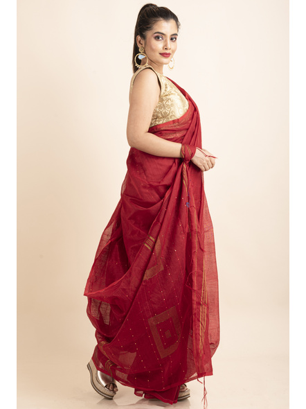 Red Sequin Box Cotton Silk Handloom Saree with Blouse piece-3