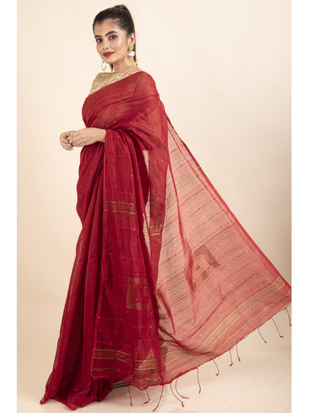 Red Sequin Box Cotton Silk Handloom Saree with Blouse piece-2