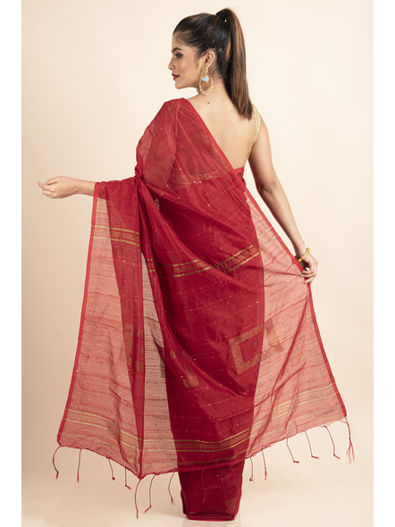 Red Sequin Box Cotton Silk Handloom Saree with Blouse piece-1