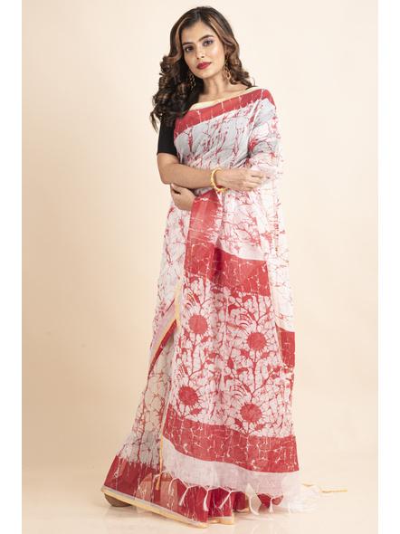 White Red Batik Printed Golden Border Saree-LAAPCS029