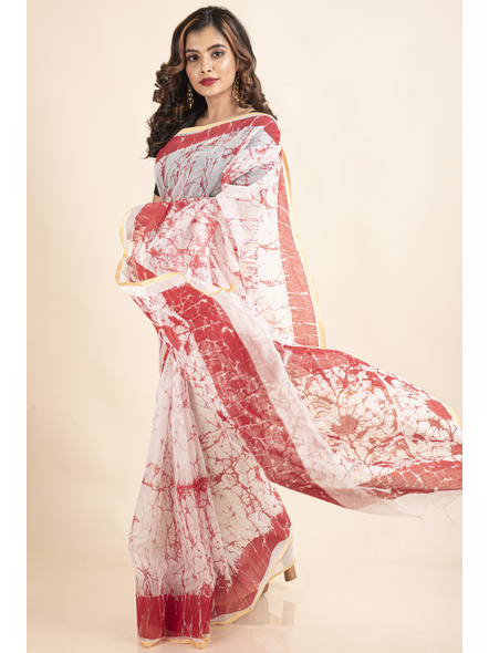 White Red Batik Printed Golden Border Saree-3