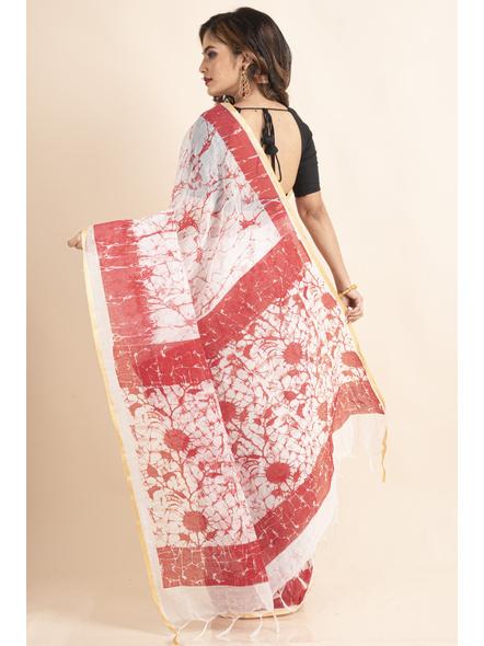 White Red Batik Printed Golden Border Saree-1