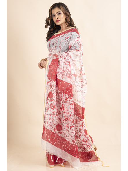 White Red Batik Printed Golden Border Saree-2