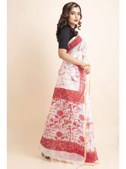 White Red Batik Printed Golden Border Saree-4