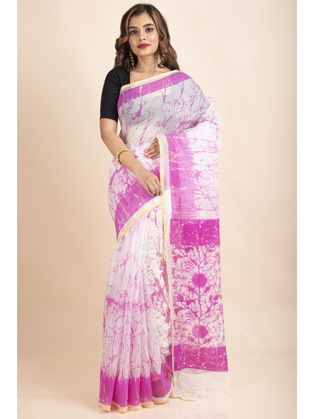 White Pink Batik Printed Golden Border Saree-LAAPCS031
