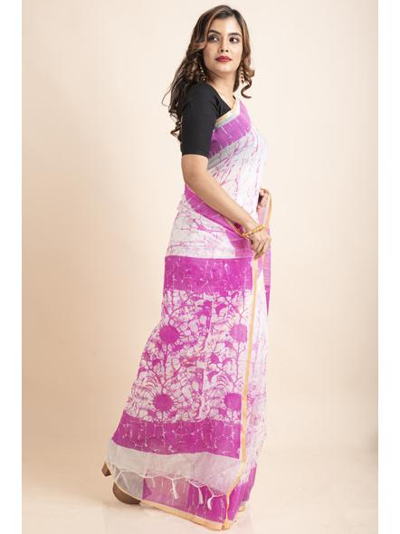 White Pink Batik Printed Golden Border Saree-2
