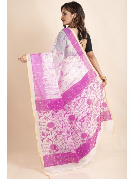 White Pink Batik Printed Golden Border Saree-1