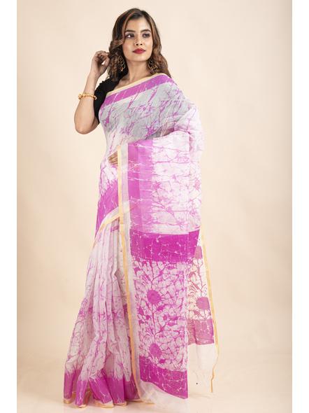 White Pink Batik Printed Golden Border Saree-3
