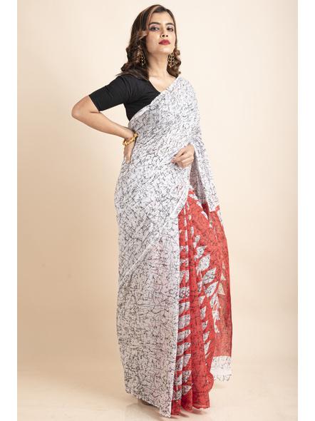 White Red Patlipallu Leaf Printed Mulmul Cotton Saree-2