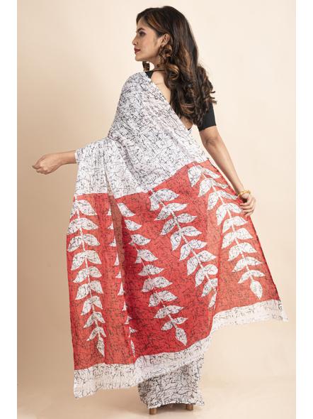 White Red Patlipallu Leaf Printed Mulmul Cotton Saree-1