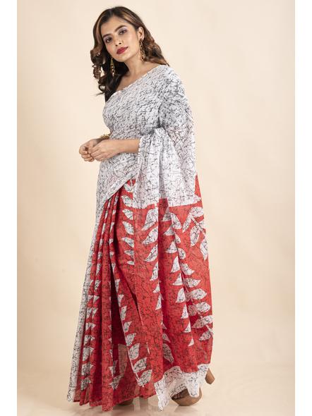 White Red Patlipallu Leaf Printed Mulmul Cotton Saree-3