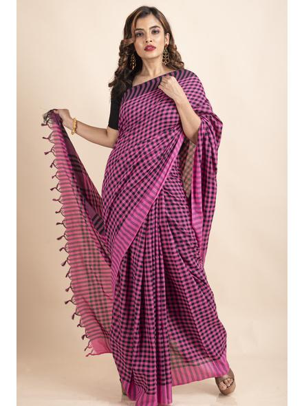 Pink Black Cotton Handloom Checkered Gamcha Saree-LAACHS017