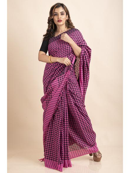Pink Black Cotton Handloom Checkered Gamcha Saree-2
