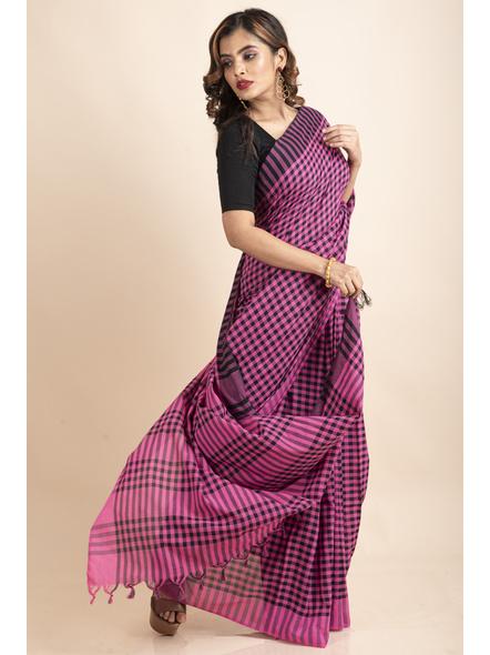 Pink Black Cotton Handloom Checkered Gamcha Saree-3