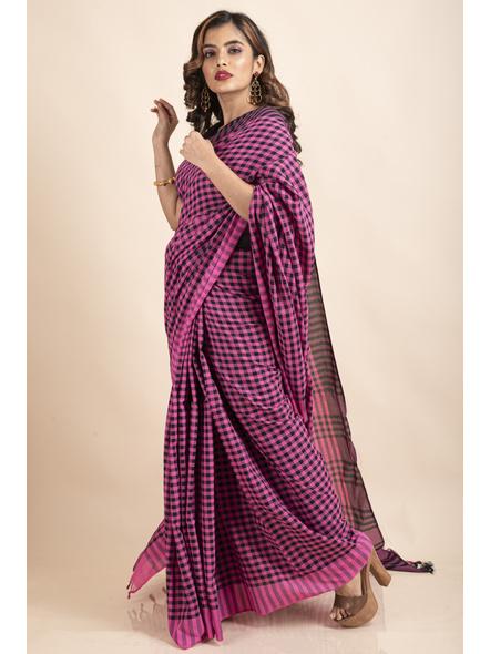 Pink Black Cotton Handloom Checkered Gamcha Saree-4