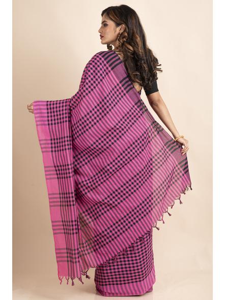Pink Black Cotton Handloom Checkered Gamcha Saree-1