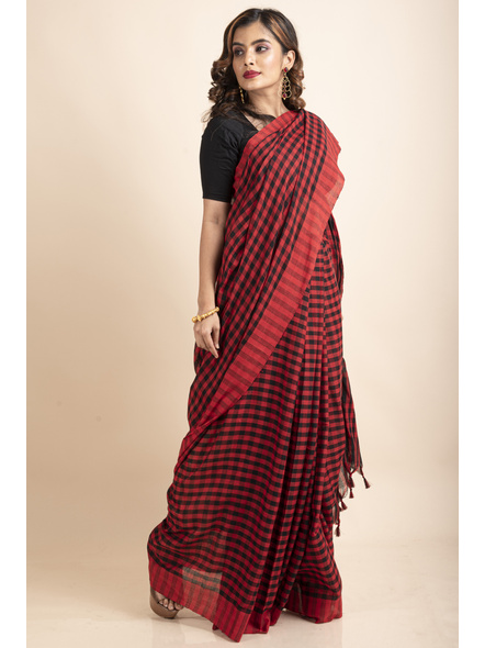 Red Black Cotton Handloom Checkered Gamcha Saree-2