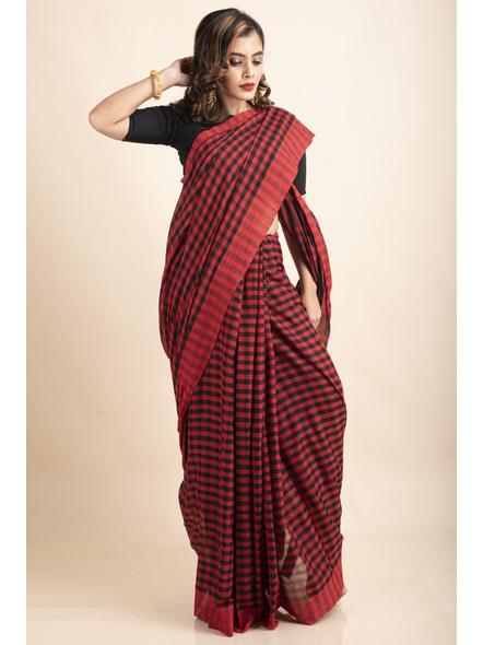 Red Black Cotton Handloom Checkered Gamcha Saree-3