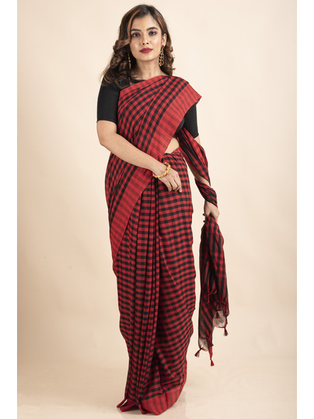 Red Black Cotton Handloom Checkered Gamcha Saree-LAACHS018