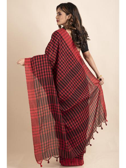 Red Black Cotton Handloom Checkered Gamcha Saree-1