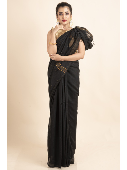 Black Sequin Box Cotton Silk Handloom Saree with Blouse piece-LAACSHS016