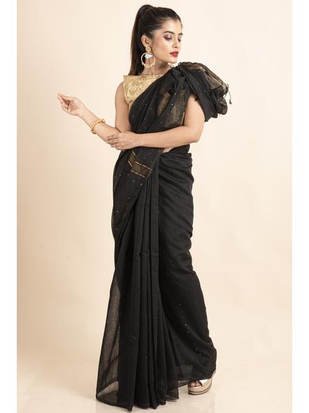 Black Sequin Box Cotton Silk Handloom Saree with Blouse piece-3