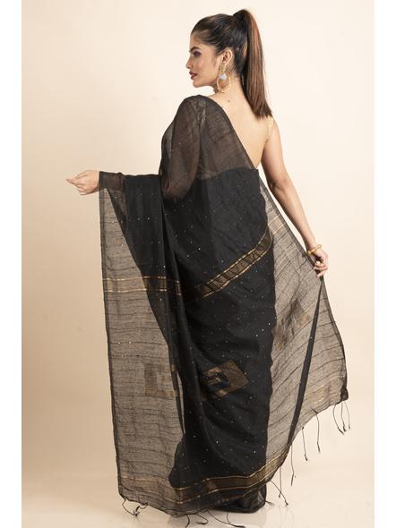 Black Sequin Box Cotton Silk Handloom Saree with Blouse piece-1