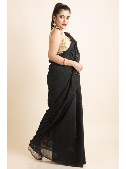 Black Sequin Box Cotton Silk Handloom Saree with Blouse piece-4