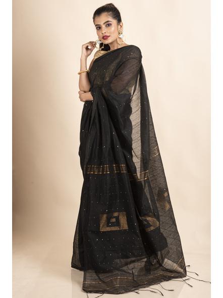 Black Sequin Box Cotton Silk Handloom Saree with Blouse piece-2
