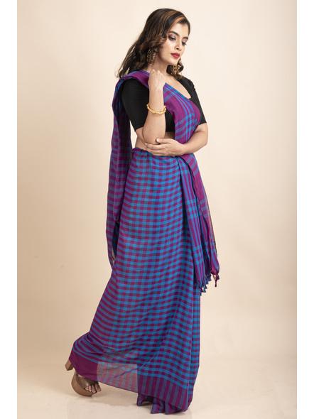 Blue Purple Cotton Handloom Checkered Gamcha Saree-3