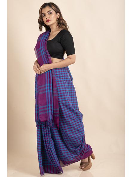 Blue Purple Cotton Handloom Checkered Gamcha Saree-4