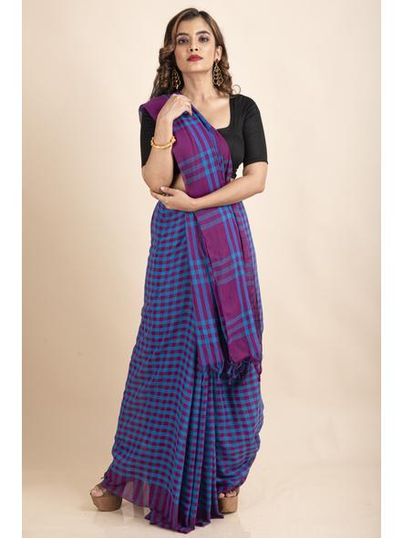 Blue Purple Cotton Handloom Checkered Gamcha Saree-2