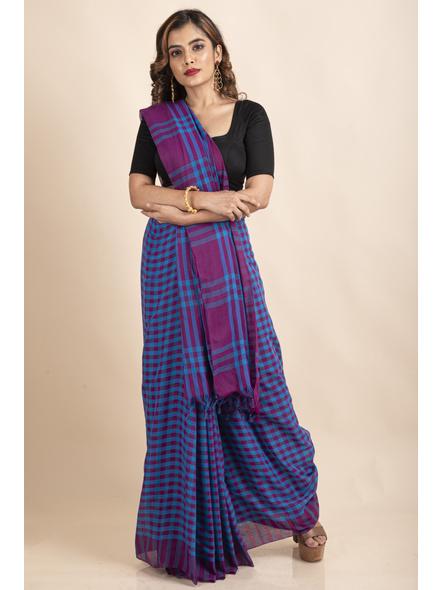 Blue Purple Cotton Handloom Checkered Gamcha Saree-LAACHS019