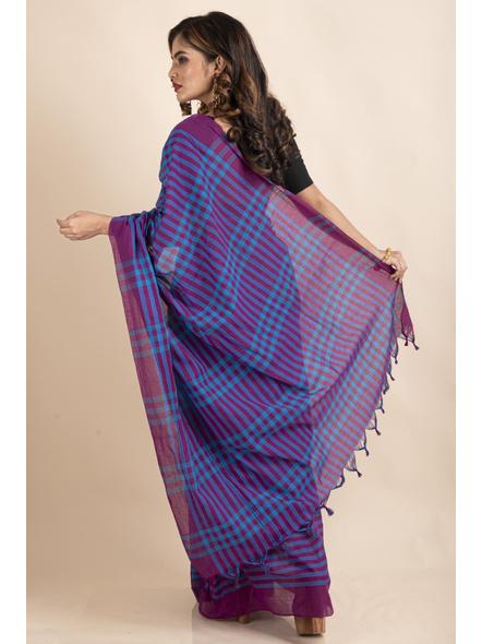 Blue Purple Cotton Handloom Checkered Gamcha Saree-1