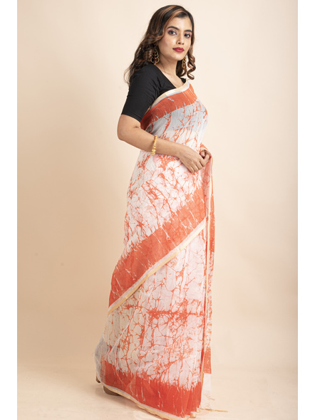 White Orange Batik Printed Golden Border Saree-4