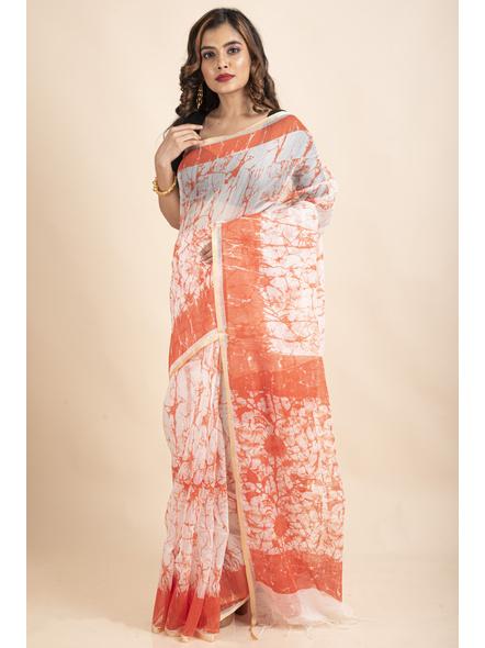 White Orange Batik Printed Golden Border Saree-2