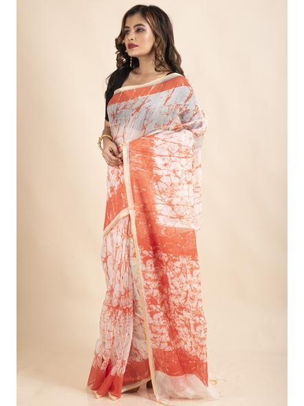 White Orange Batik Printed Golden Border Saree-3