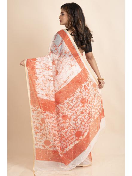 White Orange Batik Printed Golden Border Saree-1