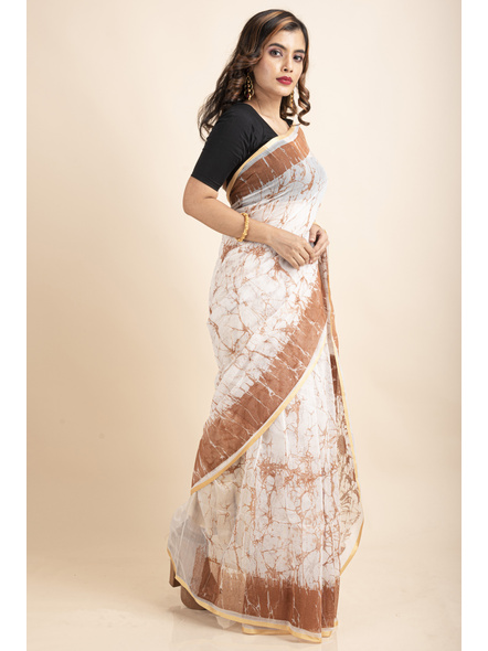 White Brown Batik Printed Golden Border Saree-4
