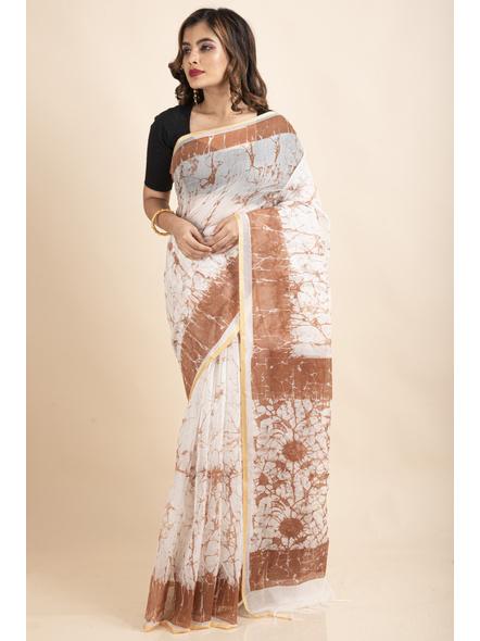 White Brown Batik Printed Golden Border Saree-3