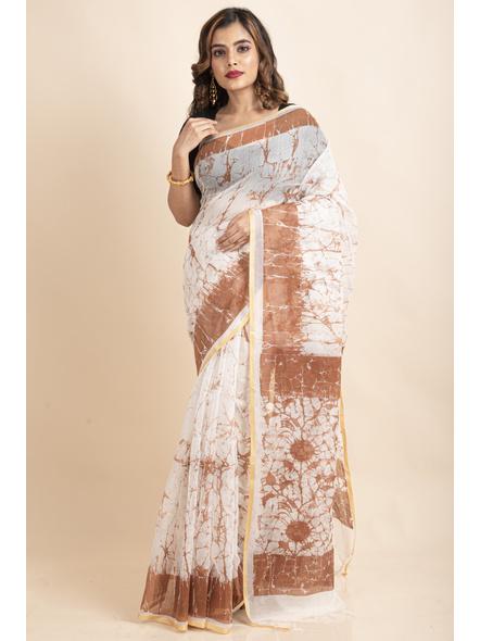 White Brown Batik Printed Golden Border Saree-LAAPCS034