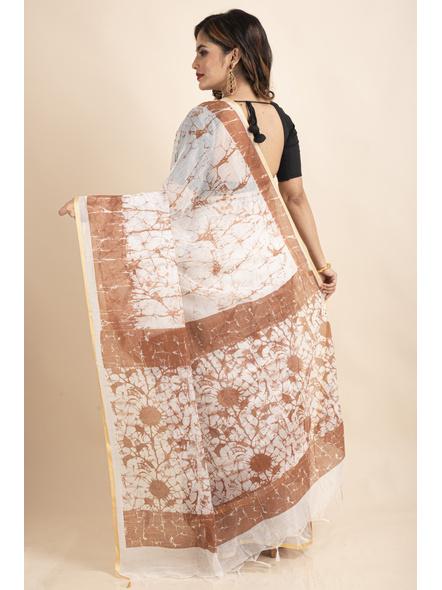White Brown Batik Printed Golden Border Saree-1